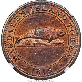 Magdalen Island Proof Penny Token 1815 PR62 Red and Brown NGC,...