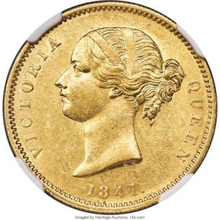 British India. Victoria gold Mohur 1841.-(c) (1850/1) AU58 NGC,...