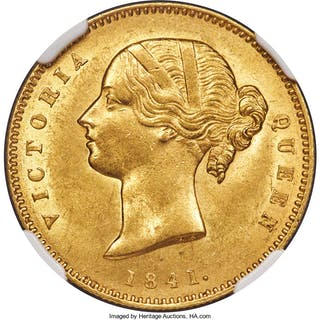 British India. Victoria gold Mohur 1841.-(c) (1850/1) MS62 NGC,...