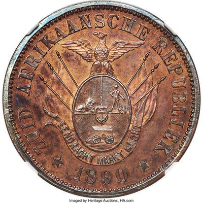 Transvaal. Republic Proof Pattern Penny 1890 PR63 Red and Brown NGC,...