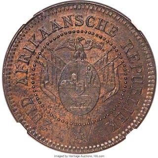 Transvaal. Republic Mule Pattern Penny 1874 AU58 Brown NGC,...