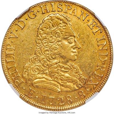 Philip V gold 8 Escudos 1728 M-JJ XF45 NGC,...