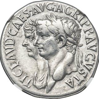Claudius I (AD 41-54), with Agrippina Junior. AR cistophorus (26mm