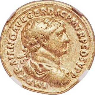 Trajan (AD 98-117). AV aureus (20mm, 7.18 gm, 7h). NGC Choice Fine