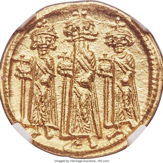 Heraclius (AD 610-641), with Heraclius Constantine and Heraclonas.