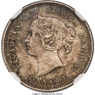 """Victoria """"Large 5"""" 5 Cents 1885 MS63 NGC,..."""
