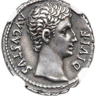 Augustus (27 BC-AD 14). AR denarius (18mm, 3.98 gm, 5h). NGC Choice