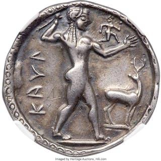 BRUTTIUM. Caulonia. Late 6th century BC. AR stater or nomos (29mm