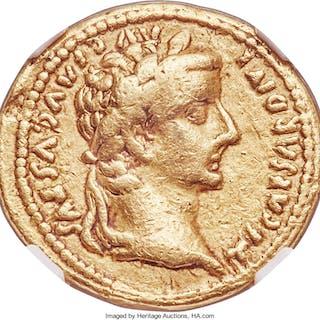 Tiberius (AD 14-37). AV aureus (21mm, 7.53 gm, 4h). NGC Choice Fine