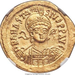 Anastasius I (AD 491-518). AV solidus (21mm, 4.48 gm, 6h). NGC Choice