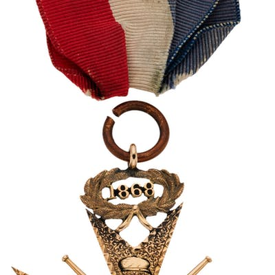 """1868 """"Clipper Prize"""" Medal Presented to George Wright with George"""