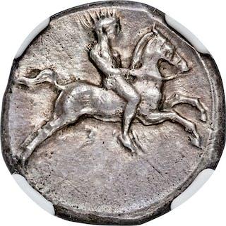CALABRIA. Tarentum. Ca. 380-340 BC. AR nomos (21mm, 7.88 gm, 2h).