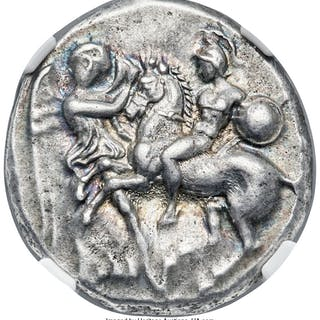 CALABRIA. Tarentum. Ca. early 3rd century BC. AR stater or didrachm
