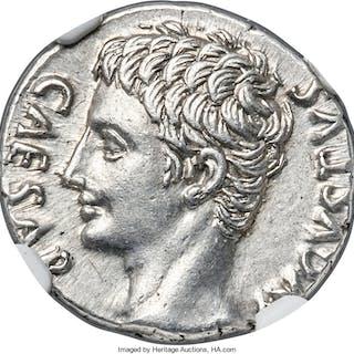 Augustus (27 BC-AD 14). AR denarius (18mm, 3.76 gm, 6h). NGC Choice