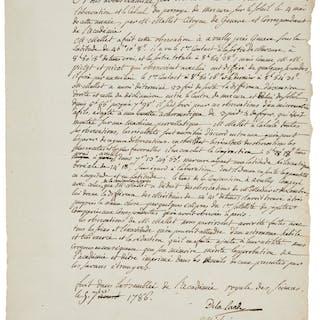 Pierre François Méchain and Joseph Jérôme Lefrançois de Lalande. Autograph