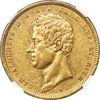 Sardinia. Carlo Alberto gold 100 Lire 1833 (Eagle)-P AU58 NGC,...
