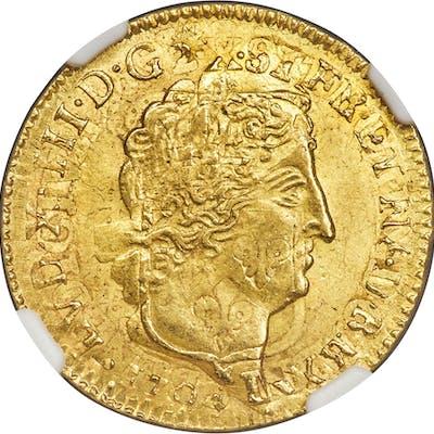 Louis XIV gold Louis d'Or 1704-D MS63 NGC,...