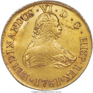 Ferdinand VI gold 8 Escudos 1751 So-J AU55 ANACS,...