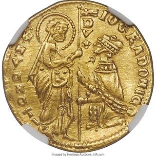 Venice. Giovanni Gradenigo gold Ducat ND (1355-1356) AU Details (Bent) NGC,...