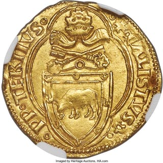 Papal States. Callistus III gold Ducat ND (1455-1458) MS62 NGC,...