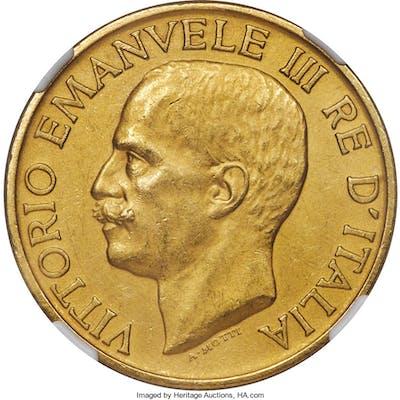 Vittorio Emanuele III gold 100 Lire 1923-R MS61 Matte NGC,...