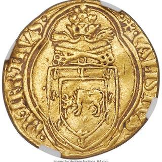 Papal States. Callistus III gold Ducat ND (1455-1458) XF40 NGC,...