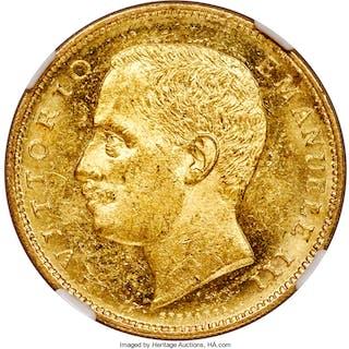 Vittorio Emanuele III gold 20 Lire 1905-R MS62 NGC,...