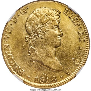 Ferdinand VII gold 8 Escudos 1816 LM-JP AU Details (Cleaned) NGC,...