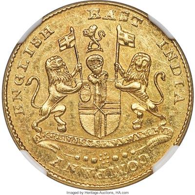 British India. Madras Presidency gold Mohur ND (1819) AU58 NGC,...