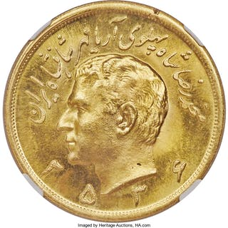 Muhammad Reza Pahlavi gold 5 Pahlavi MS 2536 (1977) MS66 NGC,...