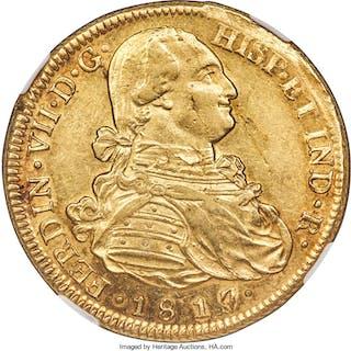 Ferdinand VII gold 8 Escudos 1817/8 So-FJ MS60 NGC,...
