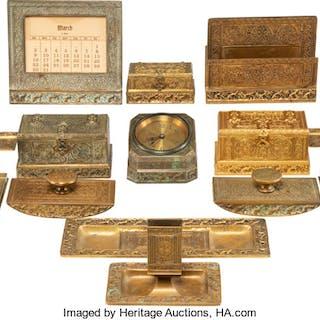 Thirteen Tiffany Studios Gilt Bronze Venetian Pattern Desk Articles