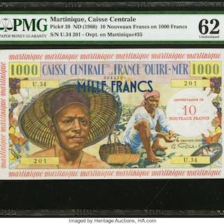 Martinique Caisse Centrale de la France d'Outre Mer 10 Nouveaux Francs
