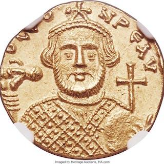 Leontius (AD 695-698). AV solidus (19mm, 4.38 gm, 7h). NGC MS 4/5