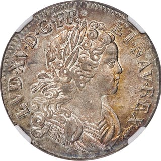 Louis XV Ecu 1719-X MS63 NGC,...