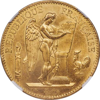 Republic gold 100 Francs 1878-A MS64 NGC,...