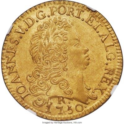 João V gold 6400 Reis 1750-R UNC Details (Saltwater Damage) NGC,...