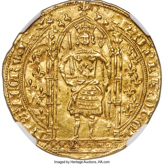 Charles V gold Franc a Pied ND (1364-1380) MS62 NGC,...