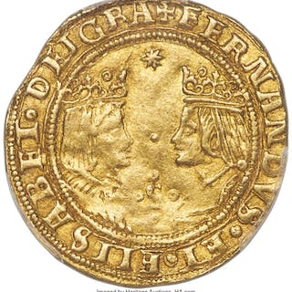 Ferdinand & Isabella (1476-1504) gold 2 Excelentes ND (from 1497) AU58 PCGS,...