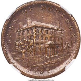 "Lower Canada. Bank of Montreal ""Side View"" 1/2 Penny Token 1838 MS62"