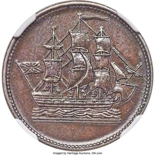 "Newfoundland ""Ship"" 1/2 Penny Token 1858 AU55 Brown NGC,..."
