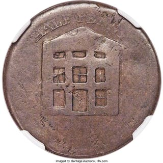 Warehouse / JB Blacksmith 1/2 Penny Token ND VG Details (Damaged) NGC,...