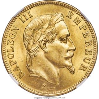 Napoleon III gold 100 Francs 1866-BB MS63 NGC,...
