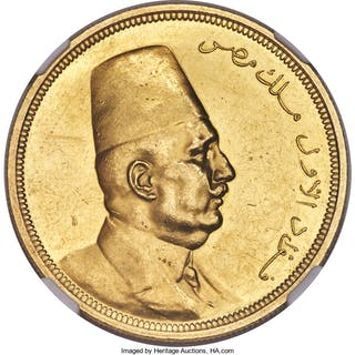 Fuad I gold 500 Piastres AH 1340 (1922) MS61 NGC,...