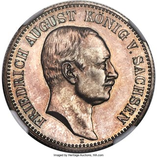 "Saxony. Friedrich August III Proof ""Muldner Hütte Mint Visit"" 2 Mark"