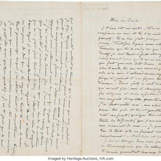 Charles Laval. Two Autograph Letters Signed to Émile Henri Bernard.  ...