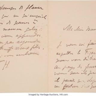 "Henri Matisse. Autograph Letter Signed. ""H."" Four page bifolium in"