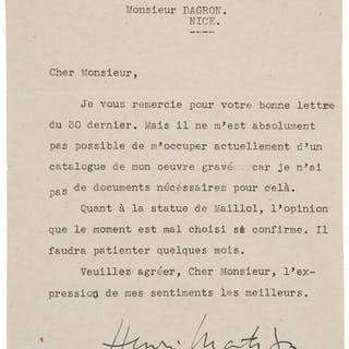 Henri Matisse. Typed Letter Signed and Telegram. ...
