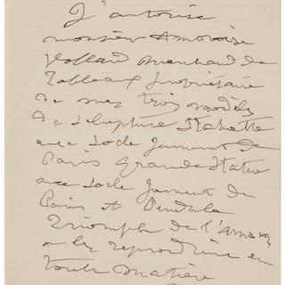 Pierre-Auguste Renoir. Autograph Letter Signed.  ...