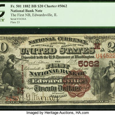 Edwardsville, IL - $20 1882 Brown Back Fr. 501 The First NB Ch. #